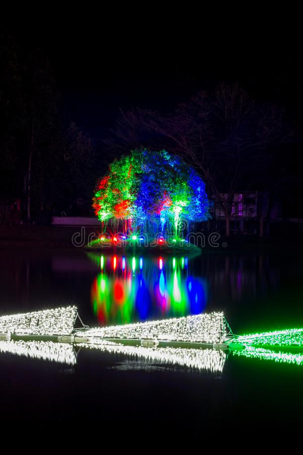 Prachinburi,Thailand-January11,2018:LED Light up in the pond at Dasada Gallery. Dasada Gallery plays host to the Giving Blossom Festival from Dec2,2017 until royalty free stock photography