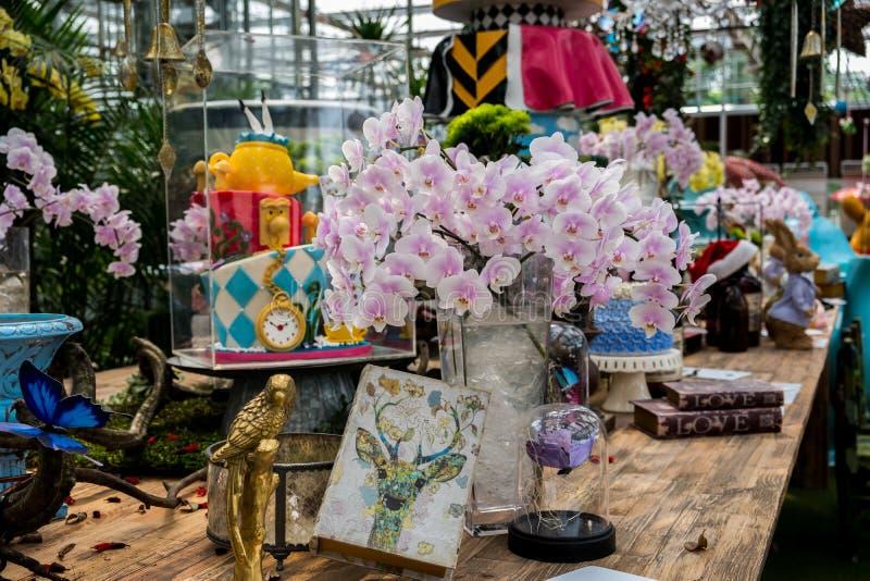 Prachinburi, Thailand-January11,2018: Schöne Blumen- und Betriebsanzeigen an Dasada-Galerie stockfoto