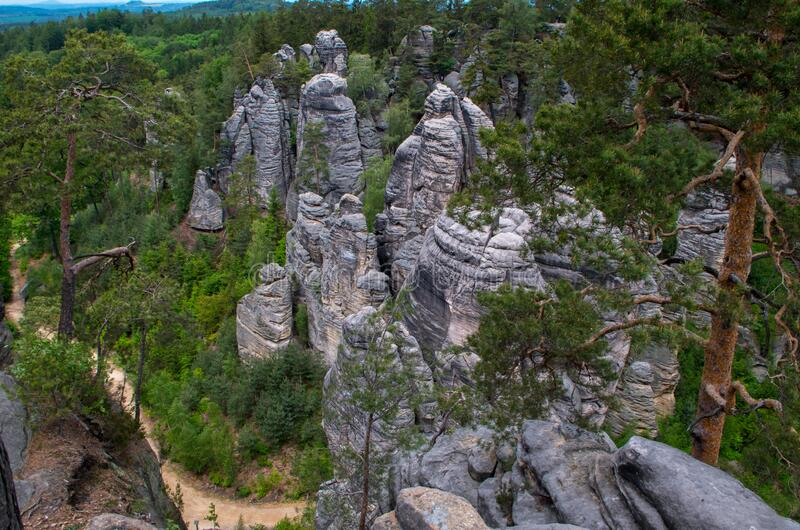 The Prachov Rocks. Rock formation in the Czech Republic approximately 5 kilometres west of Jicin. Since 1933, they have been a protected natural reserve stock photo