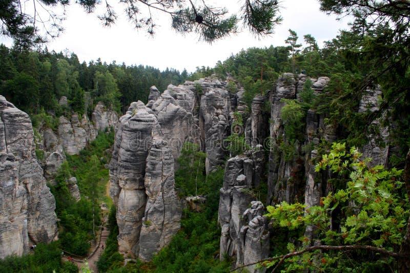 Prachovske skaly, roches dans la République Tchèque image stock