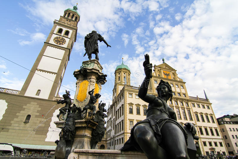 Prachtbrunnen in Augsburg. The Prachtbrunnen Fountain in the center of Augsburg, Germany, Europe royalty free stock photos