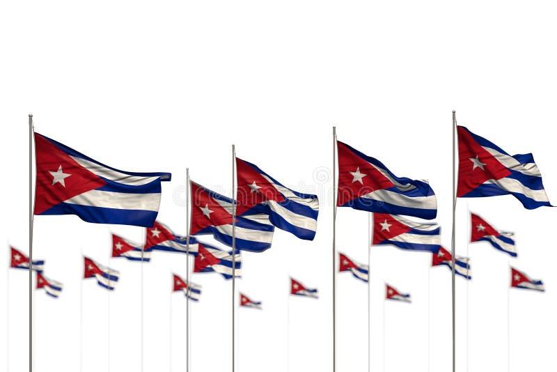 Prachtig die Cuba isoleerde vlaggen in rij met bokeh worden geplaatst en plaatst voor inhoud - om het even welke 3d illustratie v royalty-vrije illustratie
