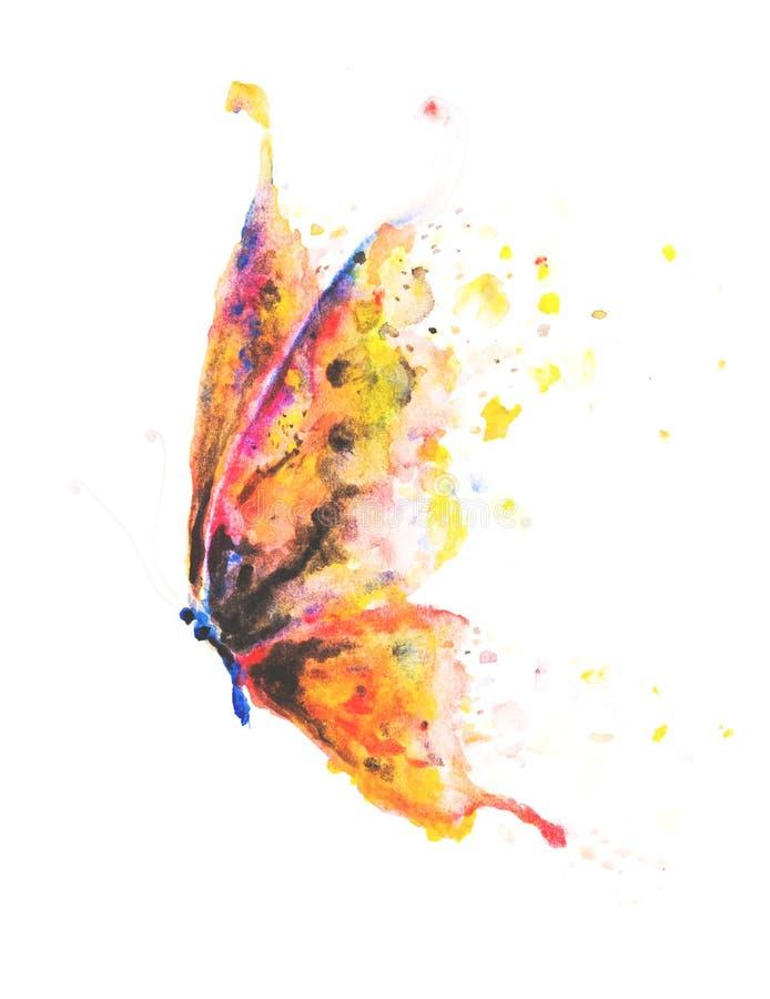 Prachtig hand geschilderde vlinder met kleurrijke geel, roze, vector illustratie