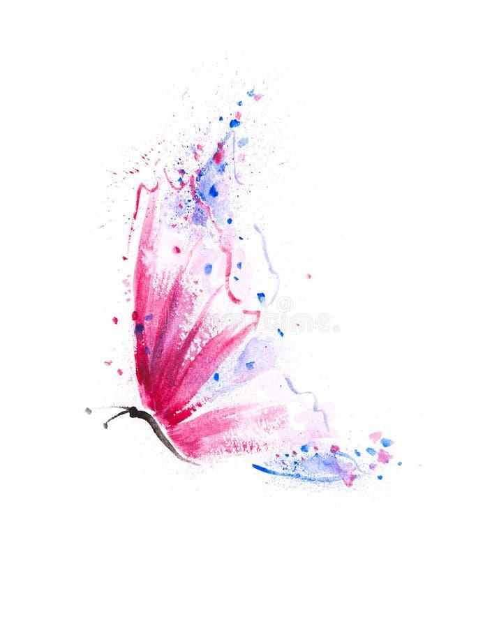 Prachtig hand geschilderde vlinder met trillend purper roze, royalty-vrije illustratie