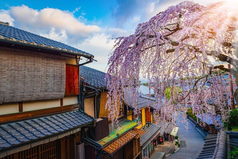 Prachtig historisch district Higashiyama, Kyoto in Japan stock afbeeldingen