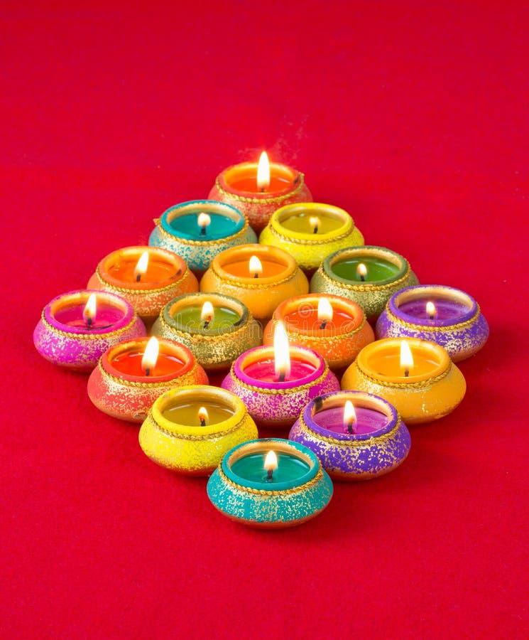 Prachtig Lit-Lampen voor het Hindoese Diwali-Festival royalty-vrije stock afbeelding