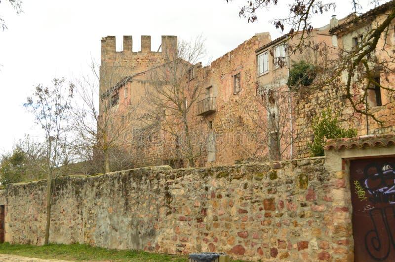 Prachtig Middeleeuws Huis van de XIV Eeuw met Twee Torens in Siguenza Architectuur, Reis, Renaissance royalty-vrije stock foto
