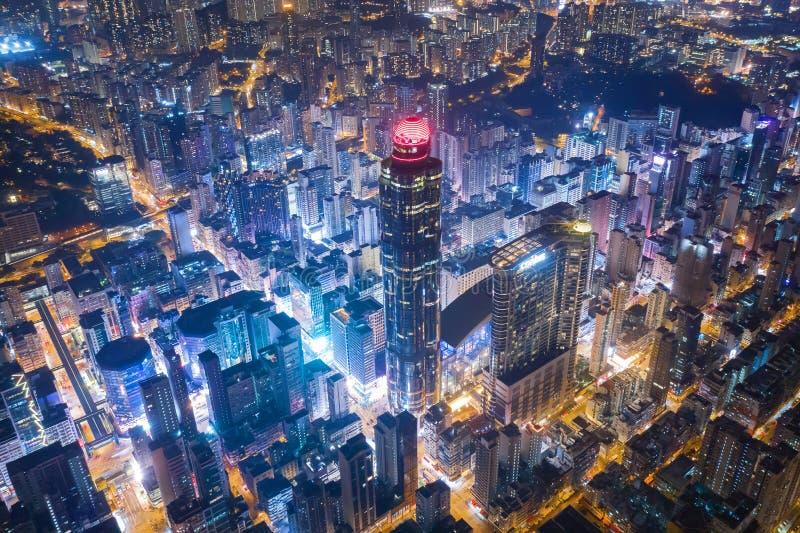 Prachtig Nachtweergeven van Hong Kong stock afbeelding