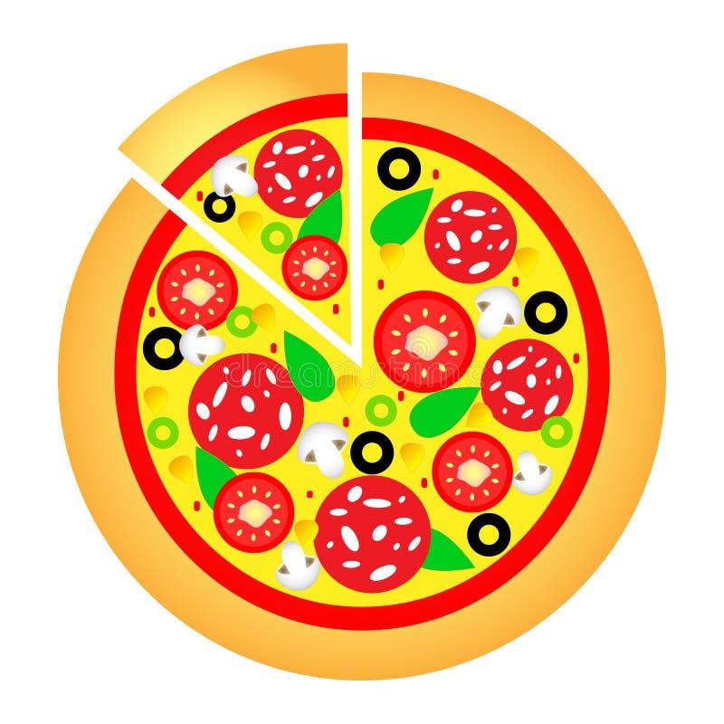 Prachtig ontwerp van een heerlijke hete pizza met verschillende ingrediënten royalty-vrije illustratie