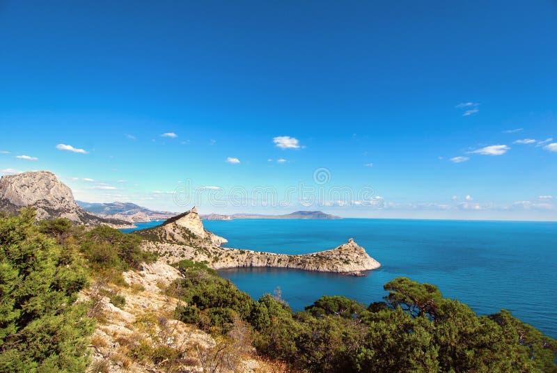 Prachtig strand met azuurblauwe blauwe overzees en groene bomen in duidelijke zonnige dag Weergeven van rots op mooie kustbaai stock fotografie