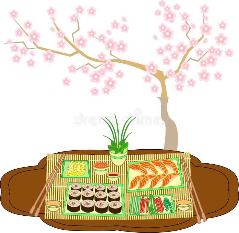 Prachtig verfraaide lijst met sushi en broodjes Tradities van Japanse keuken Een gevoelige achtergrond leidt tot een kersentak royalty-vrije illustratie