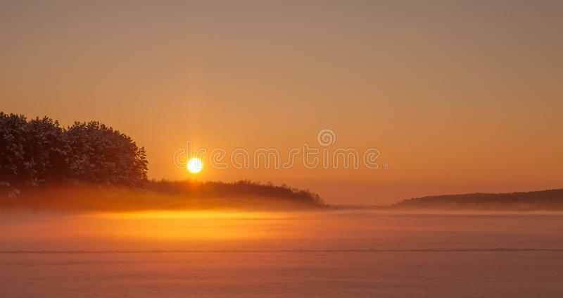 Prachtig zonsopgang, gebied en bos in de mist Horizontale landsc stock afbeelding