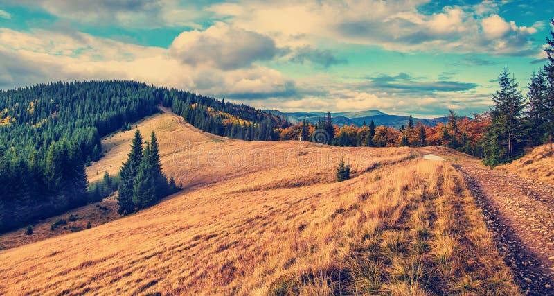 Prachtige bergmening De zomerlandschap in bergen en de donkerblauwe hemel met wolken stock fotografie