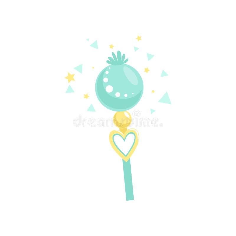 Prachtige blauwe stok met magische macht Fairytaletoverstokje Concept hekserij en mirakel Kleurrijk eenvoudig pictogram royalty-vrije illustratie