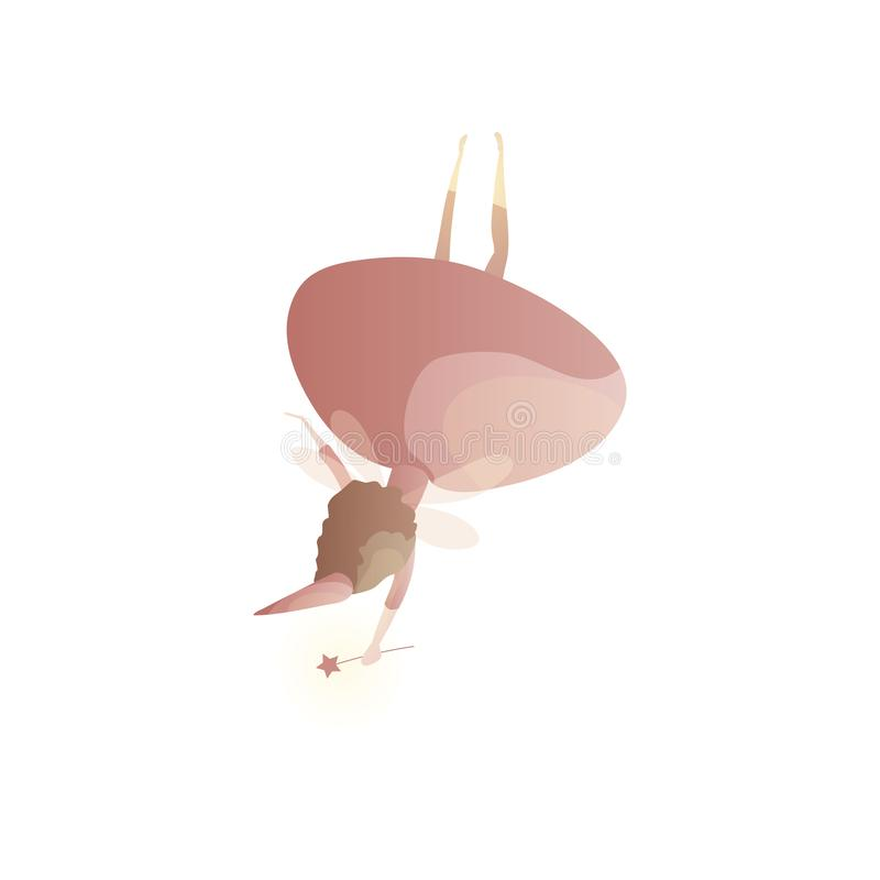 Prachtige fee met bovenkant van de toverstokje de achtermening - neer vector illustratie