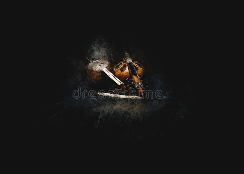 Prachtige foto van houten instrumenten omgeven door duisternis royalty-vrije stock foto's