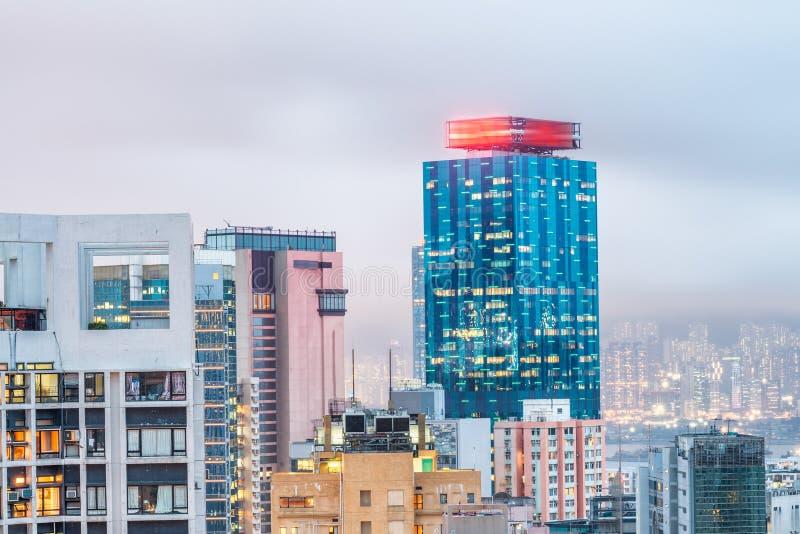 Prachtige horizon van Hong Kong, China stock foto's