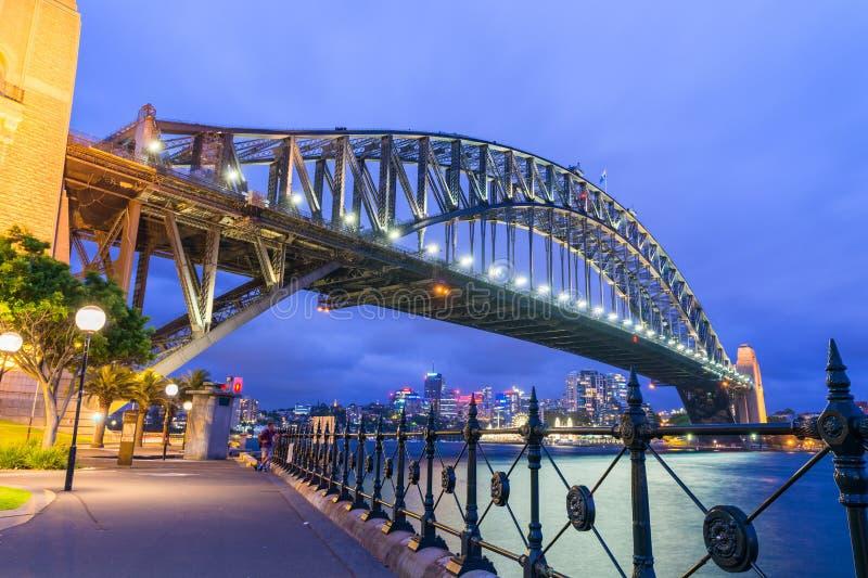 Prachtige nachthorizon van Sydney, Australië stock foto