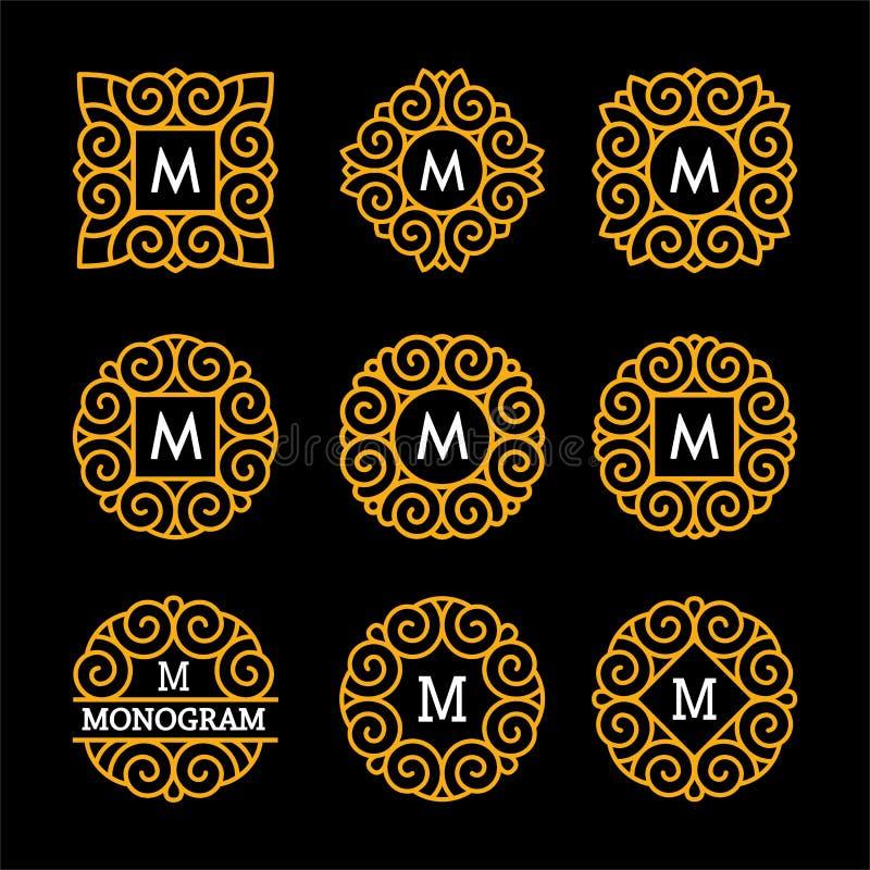 Prachtige reeks, stijljugendstil Elegant Lijn Art Logo, van Emdlem en van het Monogram Ontwerp, vectormalplaatje stock illustratie
