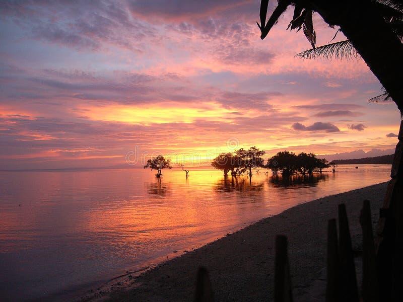 Prachtige zonsondergang op het Eiland Lyte, Philipinia stock afbeelding