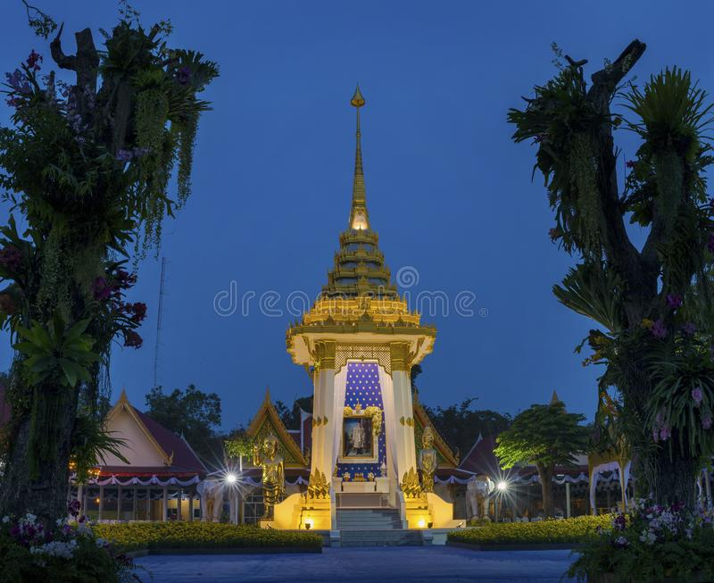 PRACHUAP KHIRI KHAN泰国- 10月27,2017 :Bhumibol Adul国王 免版税图库摄影