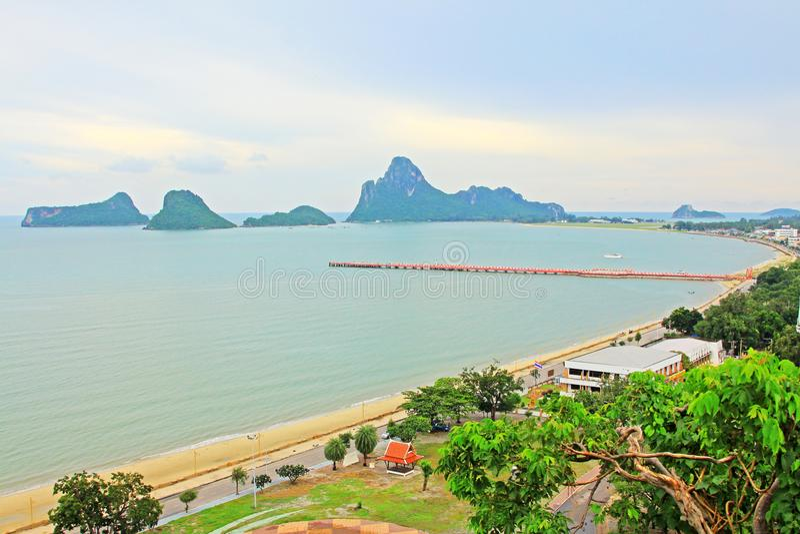 Prachuap Khiri Khan Seaside And Wharf, Thailand. Prachuap Khiri Khan is one of the western provinces of Thailand stock photography