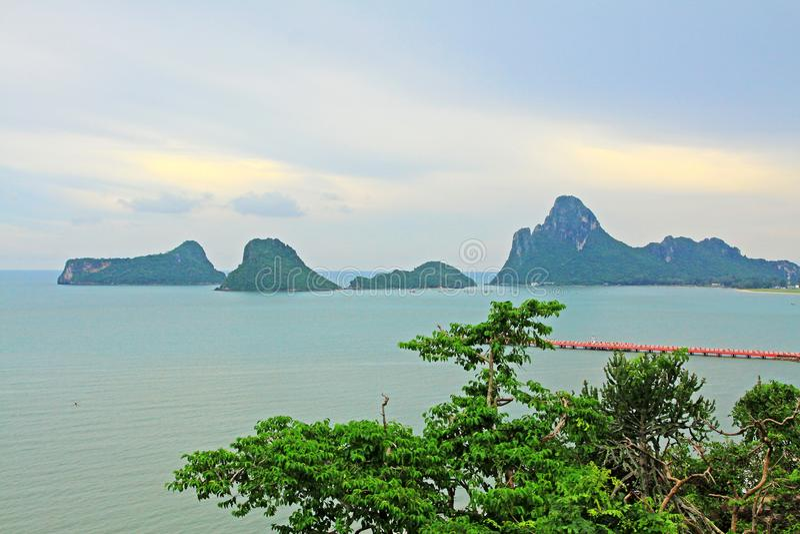 Prachuap Khiri Khan Seaside And Wharf, Thailand. Prachuap Khiri Khan is one of the western provinces of Thailand stock photo