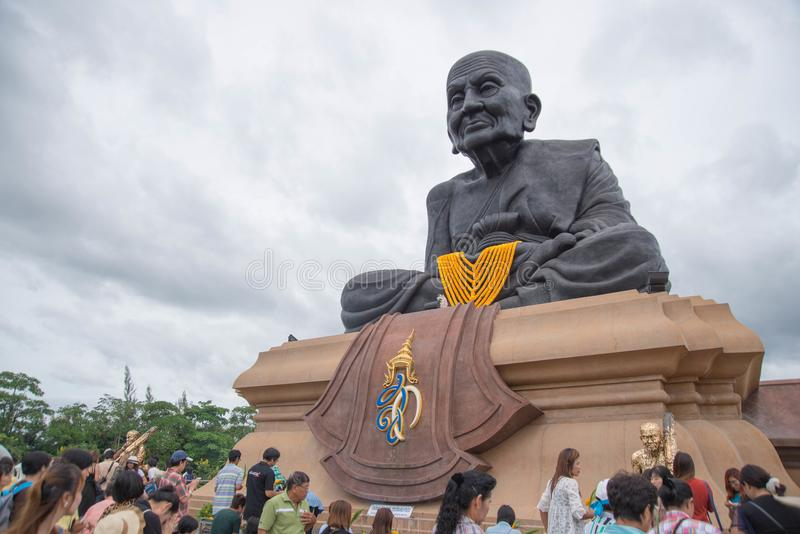 Prachuap Khiri Khan,Thailand - June 12 , 2016: People in thai temple. For editorial use only. Prachuap Khiri Khan,Thailand - June 12 , 2016:A lot of people in royalty free stock image