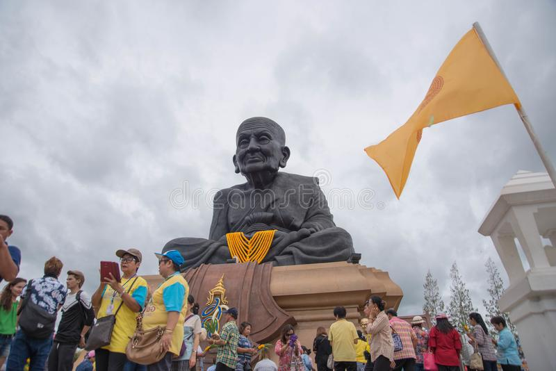 Prachuap Khiri Khan,Thailand - June 12 , 2016: People in thai temple. For editorial use only. Prachuap Khiri Khan,Thailand - June 12 , 2016:A lot of people in stock photo