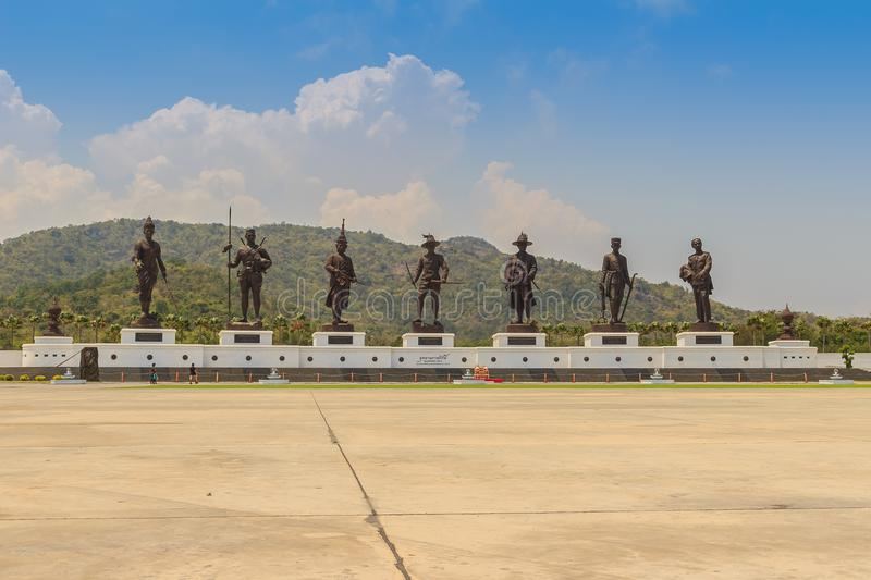 Prachuap Khiri Khan, Thailand - March 16, 2017: The bronze statues of seven Thai kings in the mountain and blue sky background. At Rajabhakti Park nearby Khao royalty free stock image