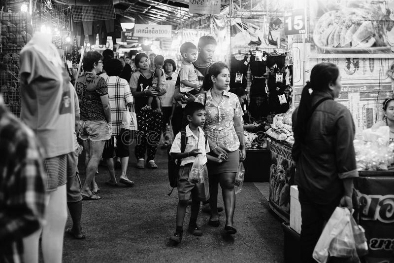 Prachuapkhirikhan,Thailand -July 27, 2016: Unidentified people at thai traditional market walking street at Prachuapkhirikhan. Province, Thailand ,black and royalty free stock image