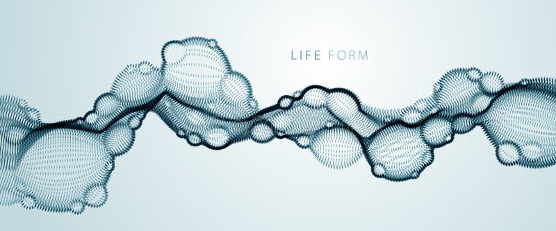 Prack biologisk vätska för den abstrakta vektorn, horisontalform för vektorpartikelflöde, nano medicinsk teknologi, mikrobiologiv vektor illustrationer