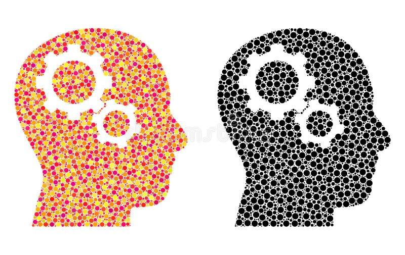 Prack Brain Gears Mosaic Icons stock illustrationer