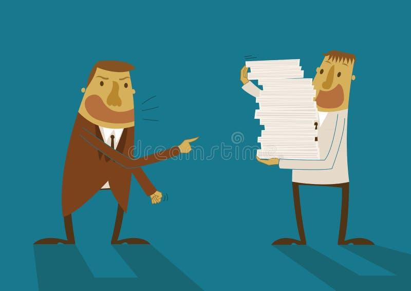 Pracodawca bezpośrednia i wyznacza dla pracownika ilustracja wektor