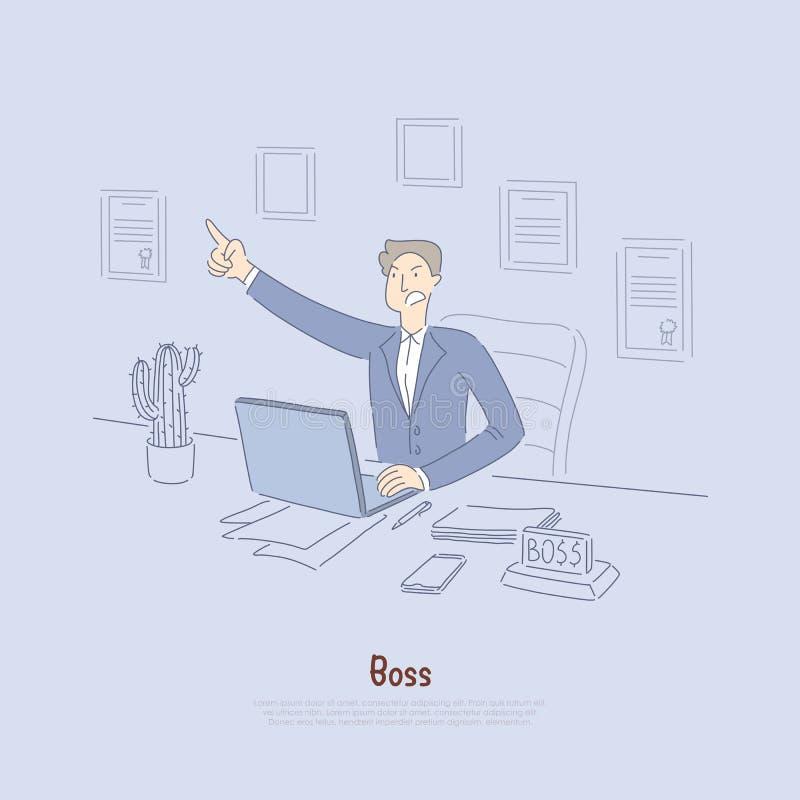 Pracodawca daje za rozkazach, szalenie urzędnik w kostiumu, firma właściciel w biurze, akcyjny makler przy komputerowym sztandare royalty ilustracja