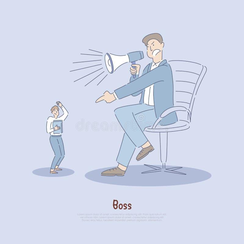 Pracodawca nadużywa pracownika, pracownik słownie nadużywający kierownikiem, przesadnym używa władza, stres w miejsce pracy sztan royalty ilustracja