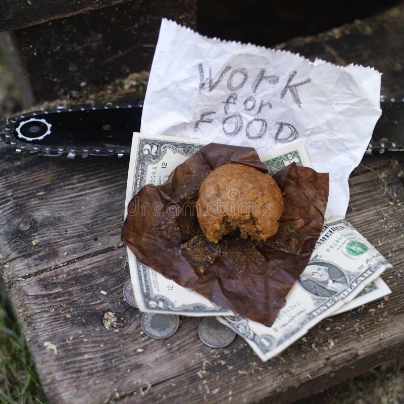 Pracować Dla jedzenia obrazy royalty free