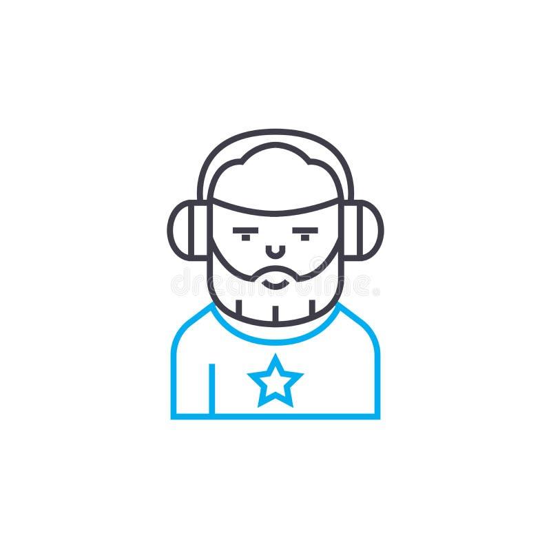 Pracować jako dj ikony liniowy pojęcie Pracujący jako dj linii wektoru znak, symbol, ilustracja ilustracja wektor