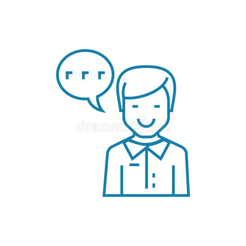 Pracować jako spiker ikony liniowy pojęcie Pracujący jako spiker linii wektoru znak, symbol, ilustracja ilustracji
