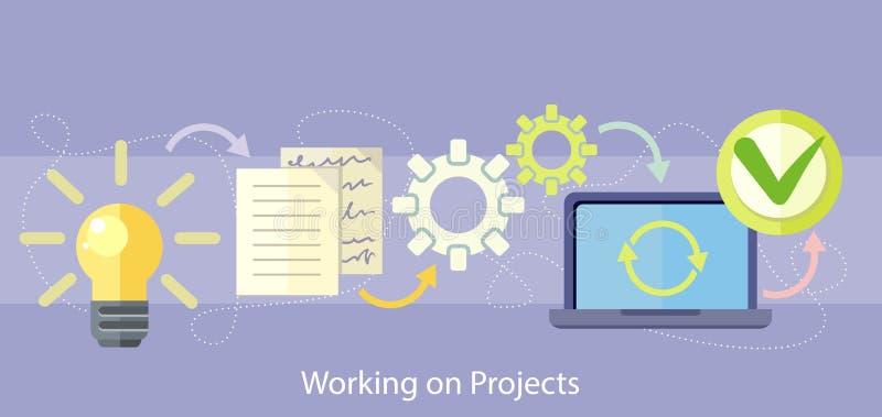 Pracować na zarządzaniu projektem i strategii ilustracja wektor