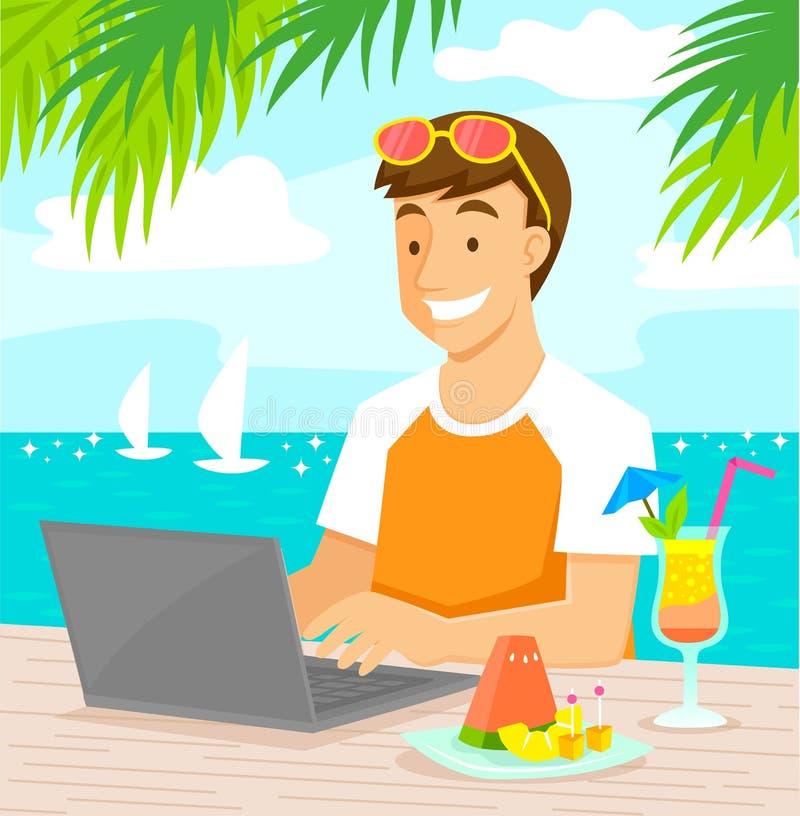 Pracować przy plażą royalty ilustracja