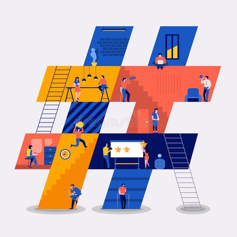 Pracować tworzy hashtag ilustracji