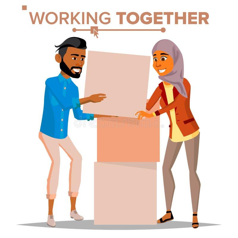 Pracować Wpólnie pojęcie wektor Biznesmen i biznesowa kobieta Praca zespołowa Pomyślna spółdzielnia interesy ilustracyjni ludzie  ilustracja wektor