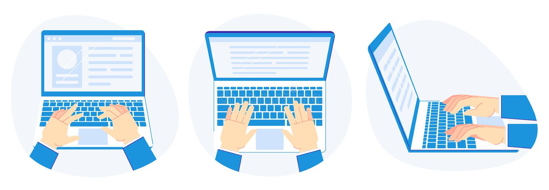 Pracowa? na laptopie Ręki na komputerowej klawiaturze, pracy prezentacji i komputeru ekranu ilustracji wektorowym secie, royalty ilustracja