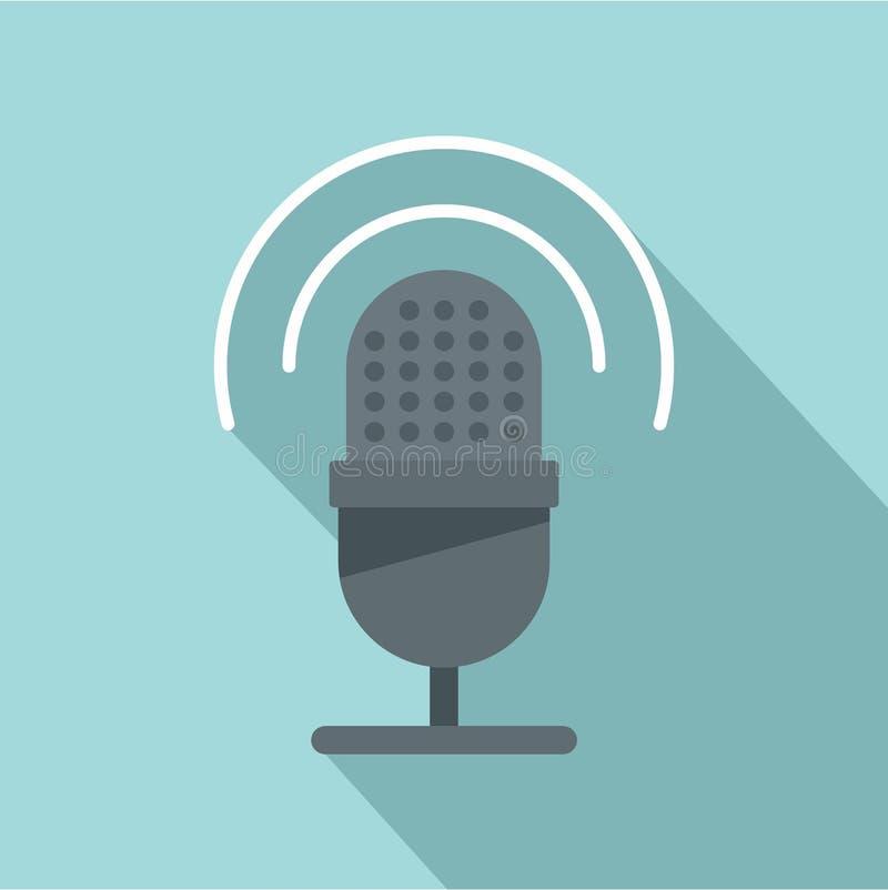 Pracowniana mikrofon ikona, mieszkanie styl ilustracja wektor