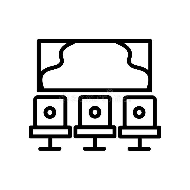 Pracowniany ikona wektor odizolowywający na tle, studio znaku, linii i konturów elementach w liniowym stylu białych, ilustracja wektor