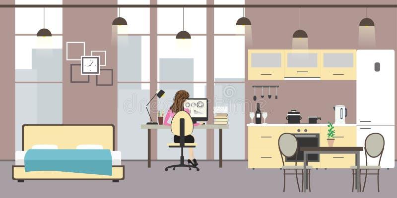 Pracowniany mieszkanie z dużymi okno ilustracja wektor