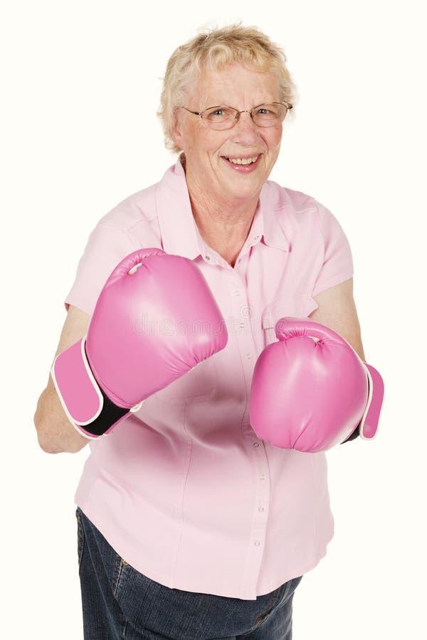 Pracowniany portret babcia jest ubranym różowe bokserskie rękawiczki odizolowywać na bielu fotografia royalty free