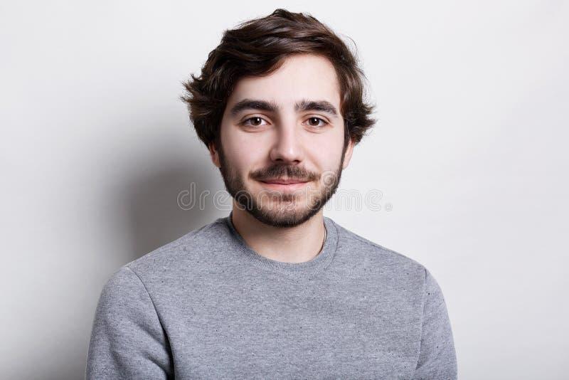 Pracowniany portret modny brodaty mężczyzna jest ubranym popielaty przypadkowy puloweru patrzeć zadawalał w kamerę pozuje przeciw obrazy stock