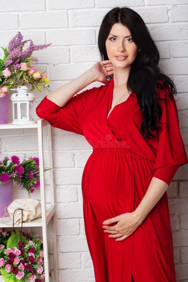 Pracowniany portret piękny kobieta w ciąży w czerwieni obrazy stock